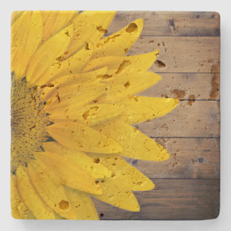 Rustic Sunflower Wood Country Chic Stone Coaster