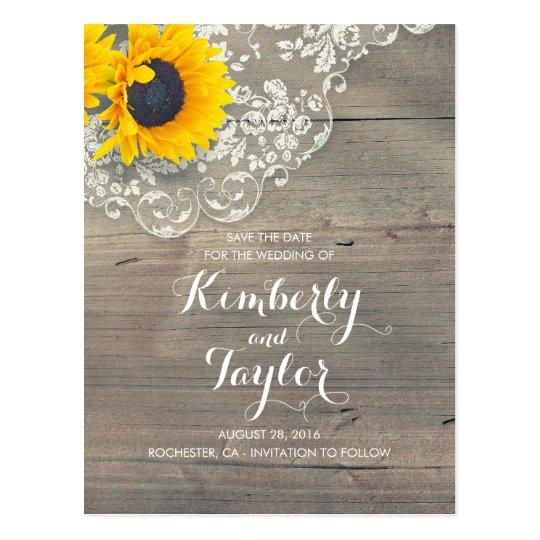 Rustic Sunflower Wood Lace Save the Date Postcard