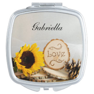 Rustic Sunflower Woodland Wedding Compact Mirror