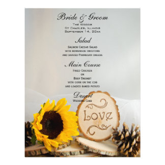 Rustic Sunflower Woodland Wedding Menu 21.5 Cm X 28 Cm Flyer
