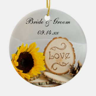 Rustic Sunflower Woodland Wedding Ornament