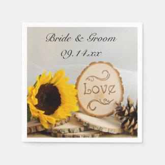 Rustic Sunflower Woodland Wedding Paper Serviettes