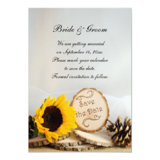 Rustic Sunflower Woodland Wedding Save the Date Card