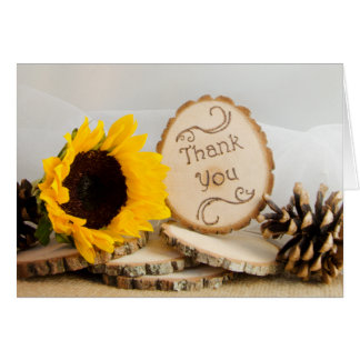 Rustic Sunflower Woodland Wedding Thank You Card