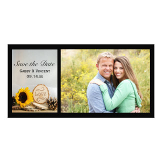 Rustic Sunflower Woods Wedding Save the Date Card