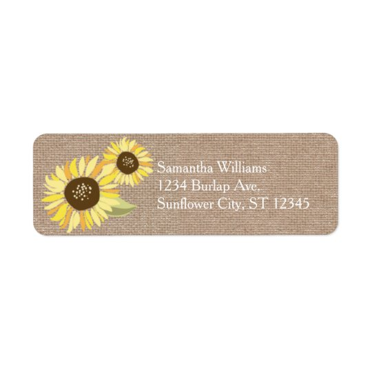 Rustic Sunflowers Address Label