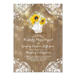 Rustic Sunflowers And Babyu0026#39;s Breath Fall Wedding Card