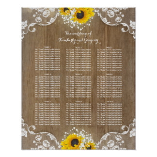 Rustic Sunflowers and Baby's Breath Lace Wood Poster