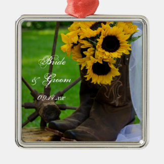 Rustic Sunflowers and Cowboy Boots Country Wedding Christmas Ornament