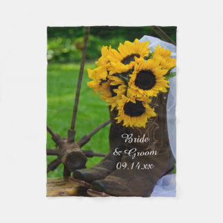 Rustic Sunflowers and Cowboy Boots Country Wedding Fleece Blanket