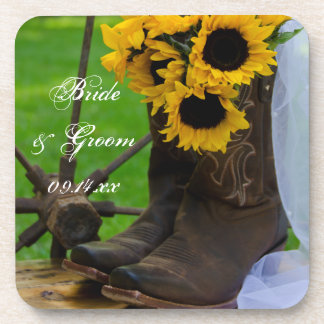 Rustic Sunflowers and Cowboy Boots Western Wedding Beverage Coasters