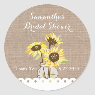 Rustic Sunflowers Bridal Shower Sticker