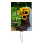 Rustic Sunflowers Country Wedding Cake Topper