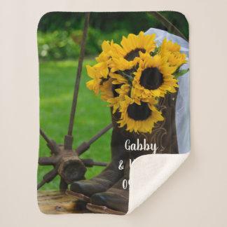 Rustic Sunflowers Cowboy Boots Wedding Keepsake Sherpa Blanket
