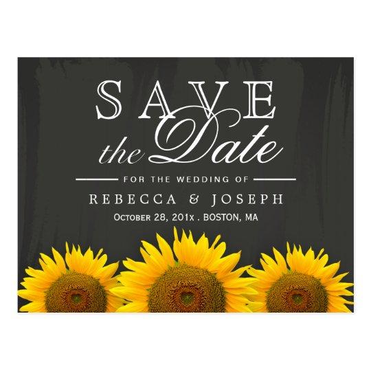 Rustic Sunflowers Elegant Chalkboard Save the Date Postcard