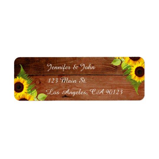 Rustic Sunflowers Fern Return Address Labels