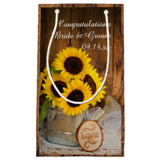 Rustic Sunflowers Garden Wedding Congratulations Small Gift Bag
