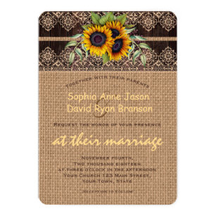 ccfd94126af3 Rustic Sunflowers Lace Burlap Wood Wedding Invitation