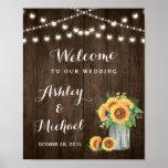 Rustic Sunflowers Mason Jar Lights Wedding Sign