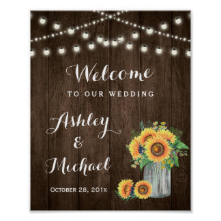 Rustic Sunflowers Mason Jar Lights Wedding Sign Poster