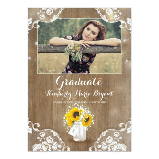 Rustic Sunflowers Mason Jar Photo Graduation Party Card