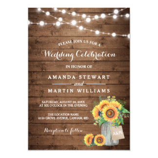 Rustic Sunflowers Mason Jar String Lights Wedding Card