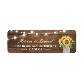 Rustic Sunflowers Mason Jar String Lights Wood Return Address Label