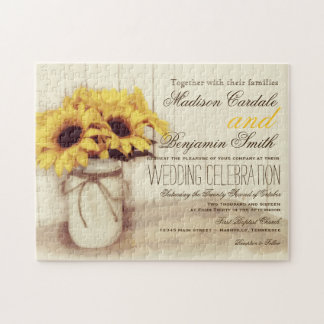 Rustic Sunflowers Mason Jar Wedding Invite Puzzle