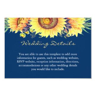 Rustic Sunflowers Navy Blue Wedding Details Insert Card