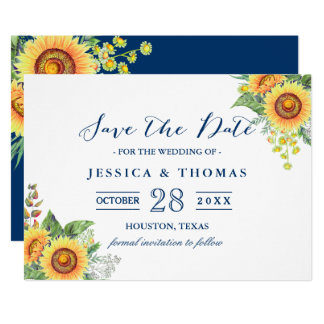 Rustic Sunflowers Navy Blue Wedding Save the Date Card