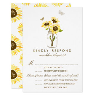 Rustic Sunflowers on a Mason Jar Wedding RSVP Card