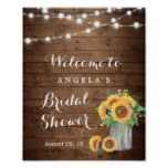 Rustic Sunflowers String Lights Bridal Shower Sign
