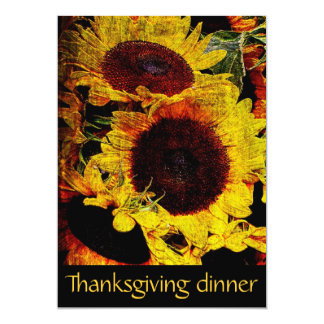 rustic sunflowers Thanksgiving dinner party Card