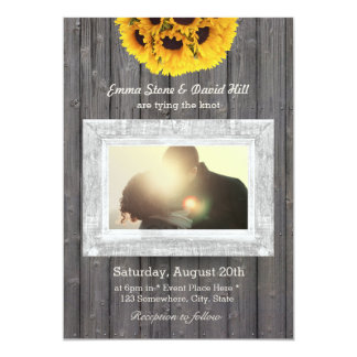 Rustic Sunflowers Weathered Wood Photo Wedding 13 Cm X 18 Cm Invitation Card