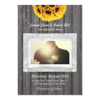 Rustic Sunflowers Weathered Wood Photo Wedding Card