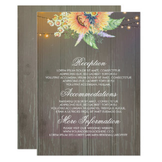 Rustic Sunflowers Wedding Information Guest Card
