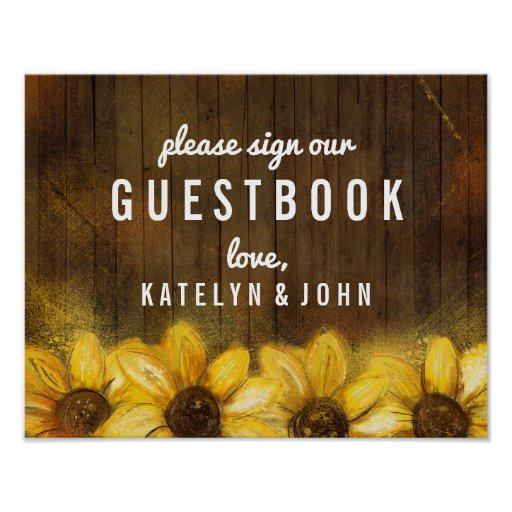 Rustic Sunflowers Wedding Please Sign Guestbook