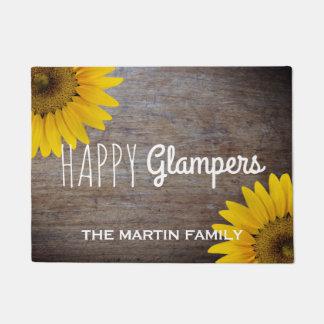 Rustic Sunflowers Wood Happy Glampers Glam Campers Doormat