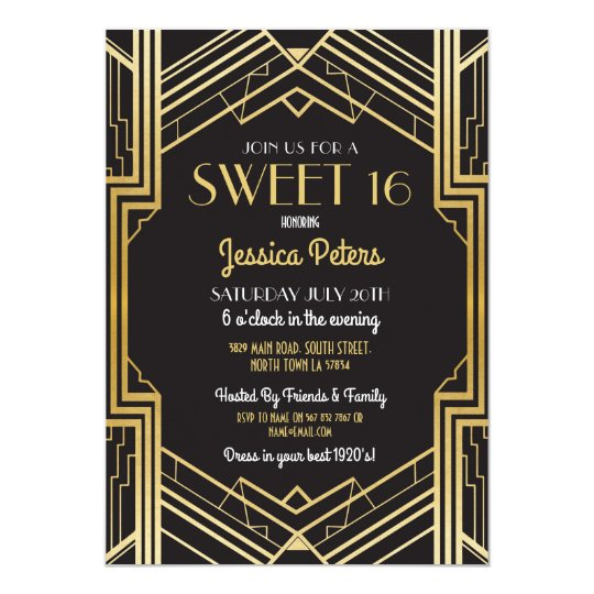 Rustic Sweet 16 Party Floral Gatsby Art DecoInvite