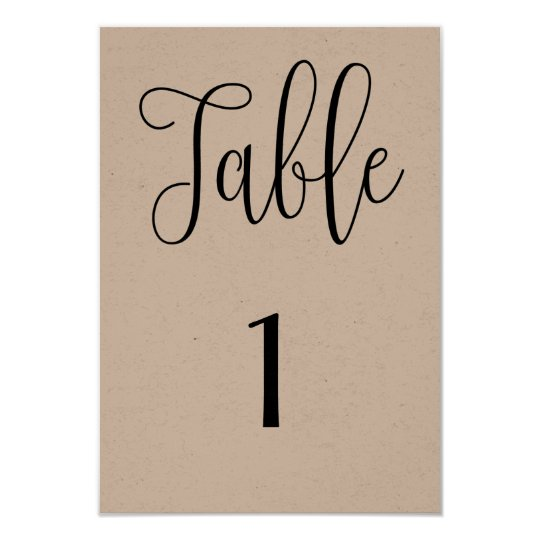 Rustic table number kraft. Modern country wedding Card