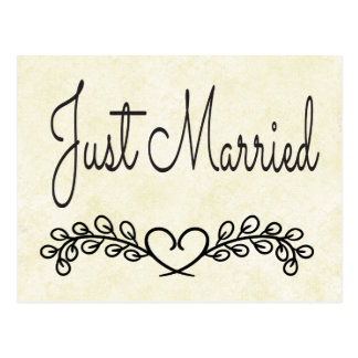 Rustic Tan Just Married Black Heart Laurel Wedding Postcard