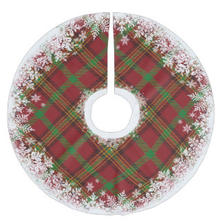 Rustic Tartan Plaid Snowflake Tree Skirt