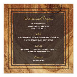 Rustic Teak Wood Wooden Photo Modern Wedding Menu Personalized Announcement