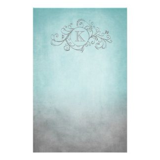 Rustic Teal and Grey Bohemian  Flourish Stationery Paper