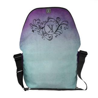 Rustic Teal and Purple Bohemian  Flourish Messenger Bag