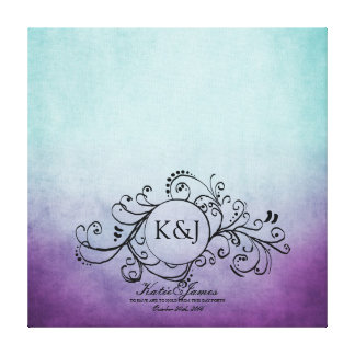 Rustic Teal and Purple Bohemian Guest Book Canvas Canvas Prints