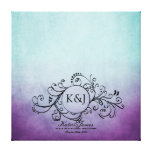 Rustic Teal and Purple Bohemian Guest Book Canvas Gallery Wrap Canvas