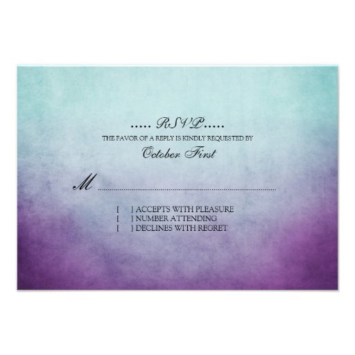 Rustic Teal and Purple Bohemian Wedding RSVP Personalized Invites