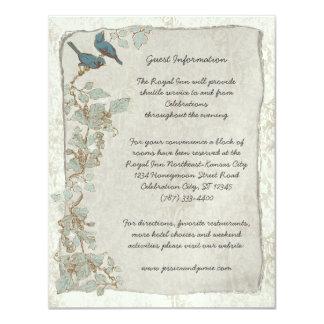 "Rustic Teal Birds Damask Wedding Information Card 4.25"" X 5.5"" Invitation Card"