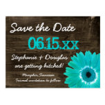 Rustic Teal Daisy Wood Save The Date Postcards